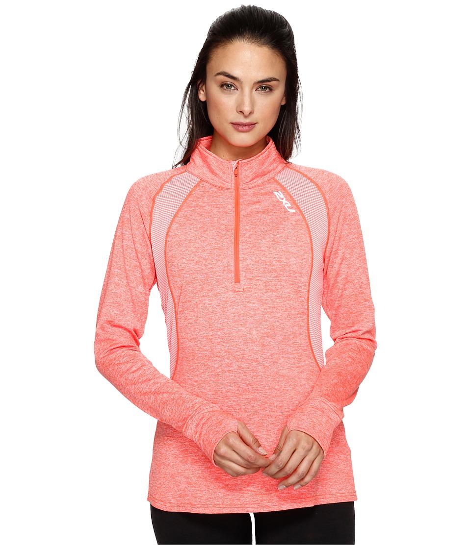 2XU - X-Vent Long Sleeve 1/4 Zip (Fiery Coral/Fiery Coral) Women's Long Sleeve Pullover
