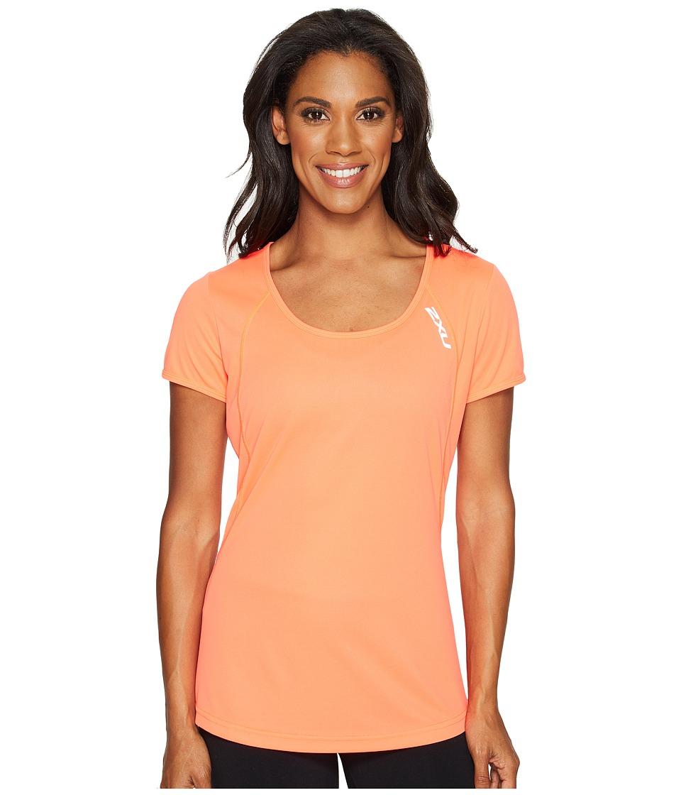 2XU - X-Vent Tee (Fiery Coral/Silver) Women's T Shirt