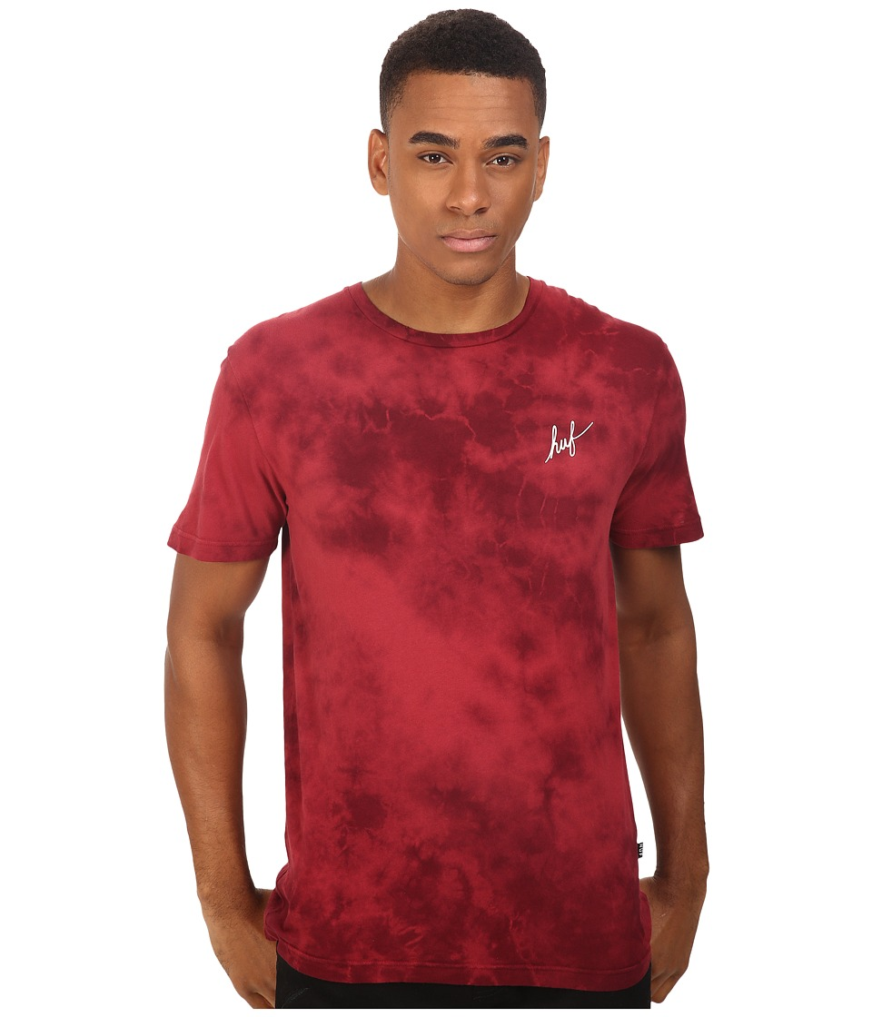 HUF - Classic H Crystal Wash Tee (Wine) Men's T Shirt