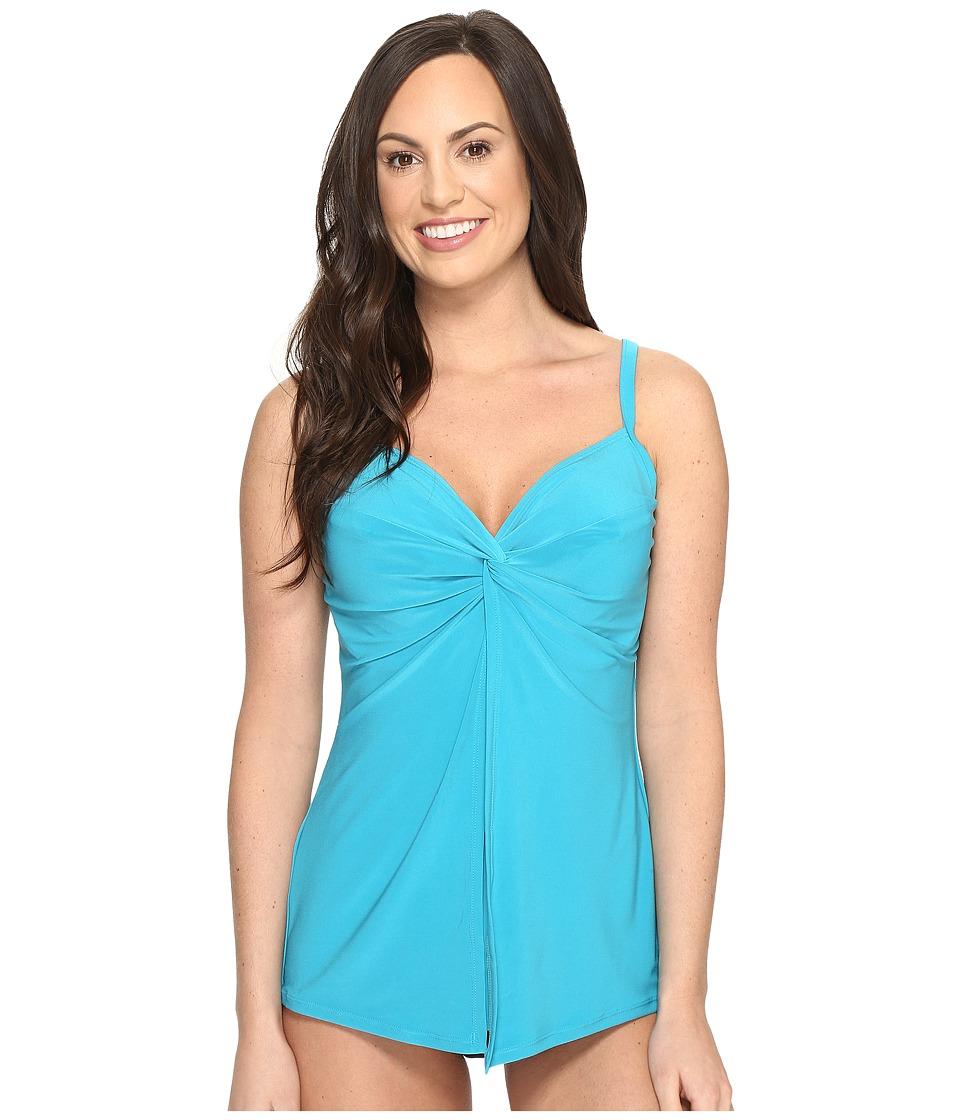 Miraclesuit - Solids Love Knot Tankini Top (DD-Cup) (Lagoon) Women's Swimwear