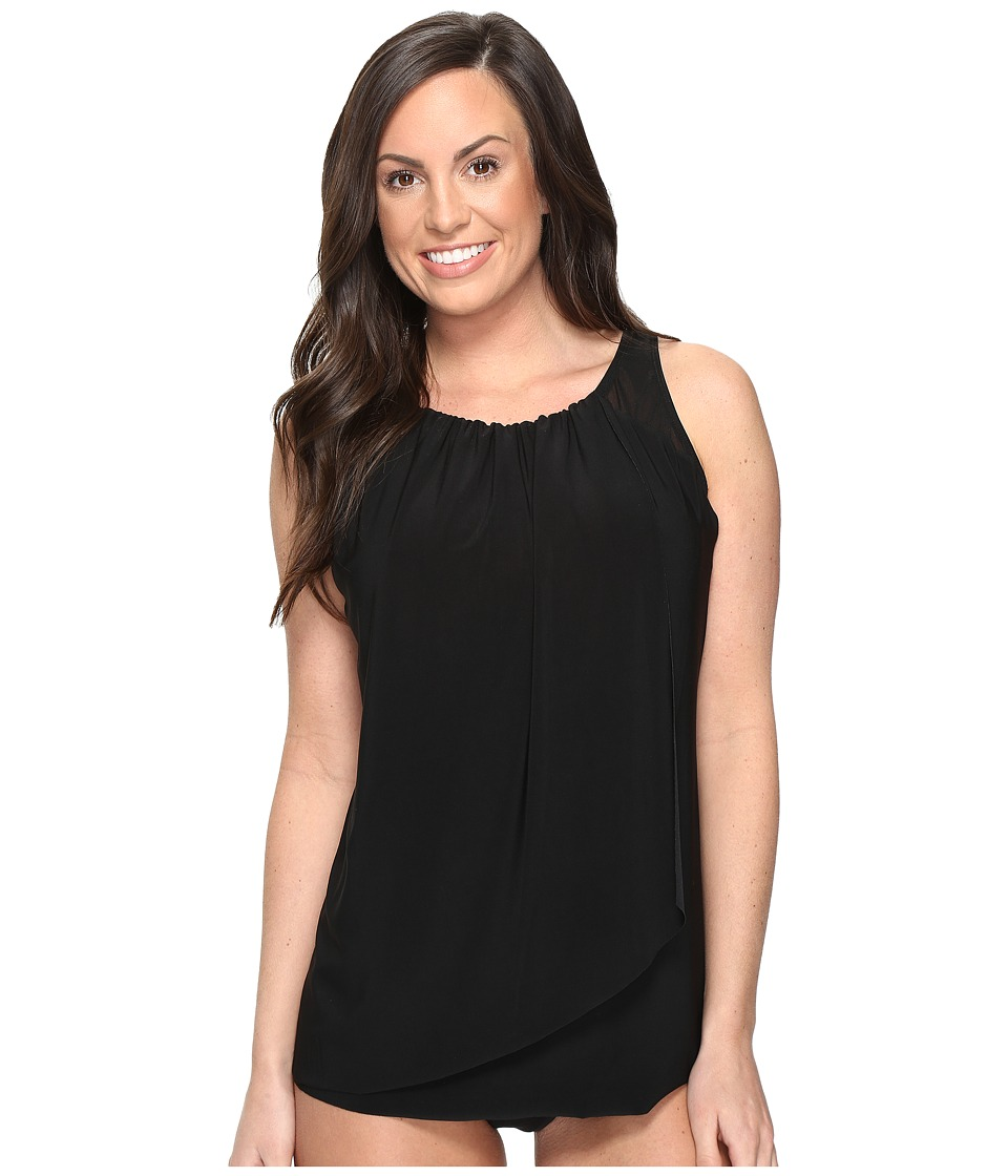 Miraclesuit - Solids Mariella Tankini Top (DD-Cup) (Black) Women's Swimwear