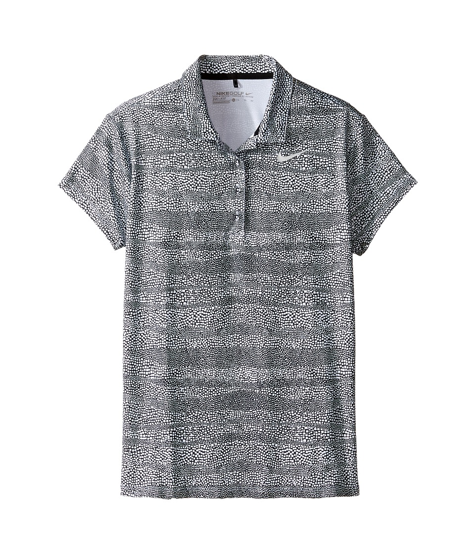 Nike Kids - Printed Polo (Little Kids/Big Kids) (Black/White/Metallic Silver) Girl's Short Sleeve Pullover