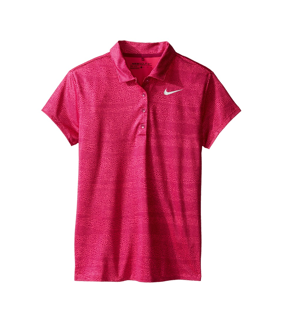 Nike Kids - Printed Polo (Little Kids/Big Kids) (True Berry/Vivid Pink/Metallic Silver) Girl's Short Sleeve Pullover