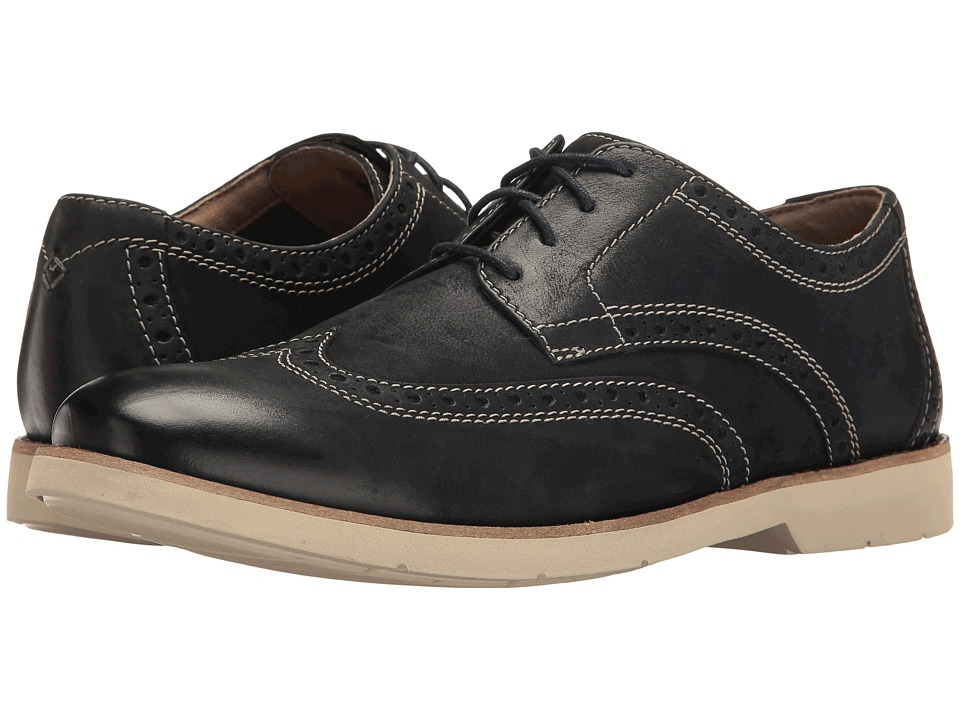 Bostonian - Pariden Wing (Navy Nubuck/White) Men's Lace Up Cap Toe Shoes