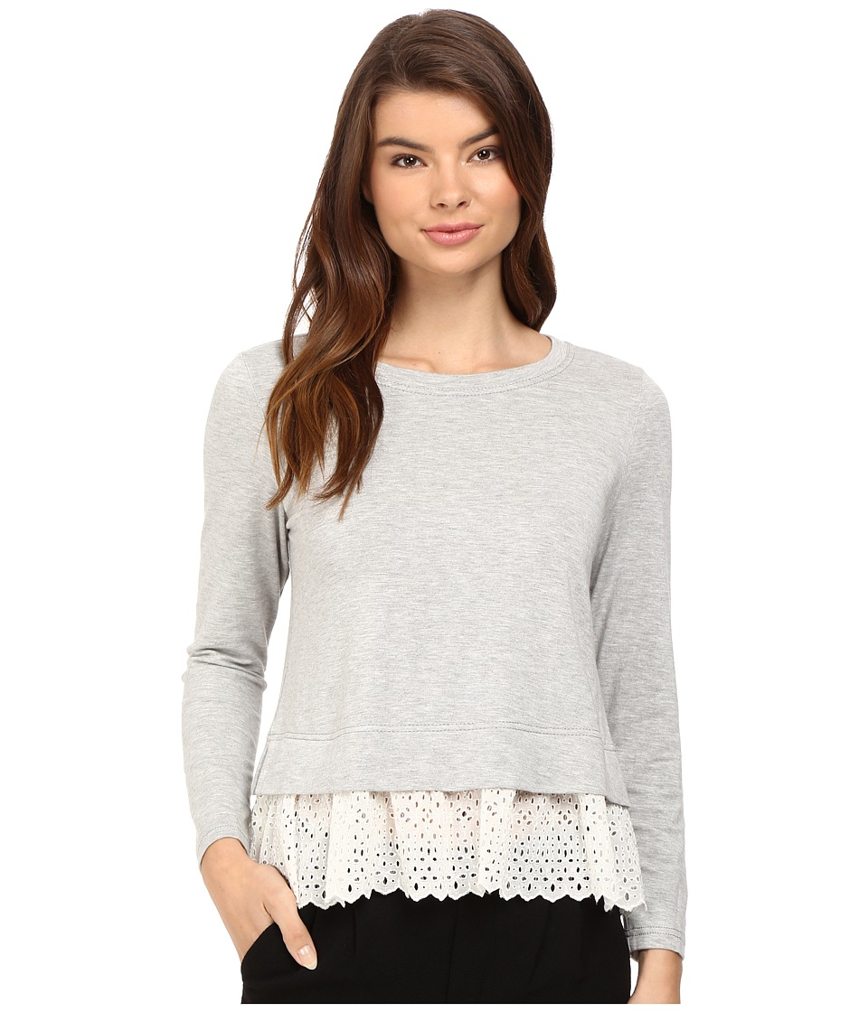 Rebecca Taylor - Terry Top with Embroidery (Grey/Chalk) Women's Long Sleeve Pullover