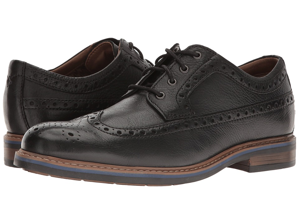 Bostonian - Melshire Wing (Black Tumbled Leather) Men's Lace Up Wing Tip Shoes