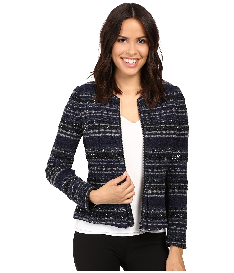 Rebecca Taylor - Lurex Tweed Jacket (Navy) Women's Coat