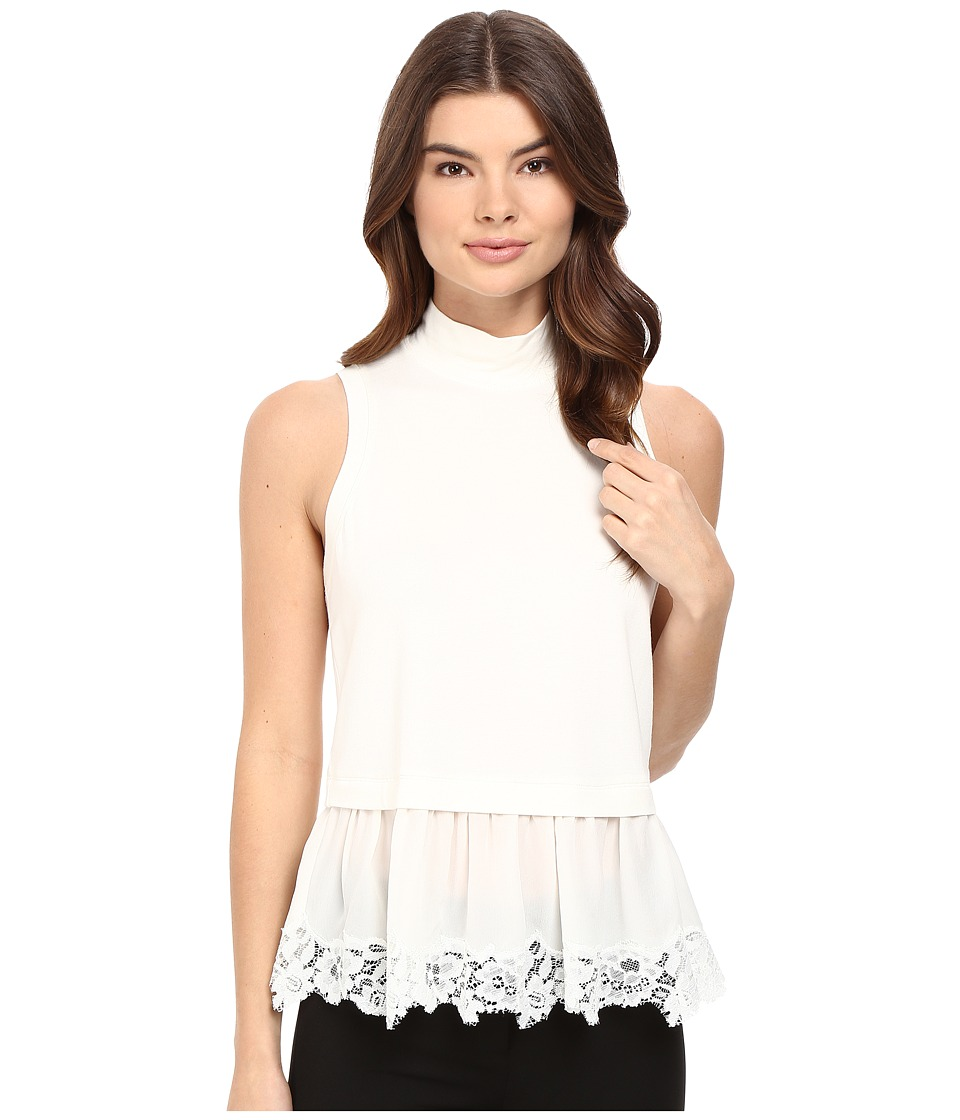 Rebecca Taylor - Terry Top with Lace (Chalk) Women's Clothing