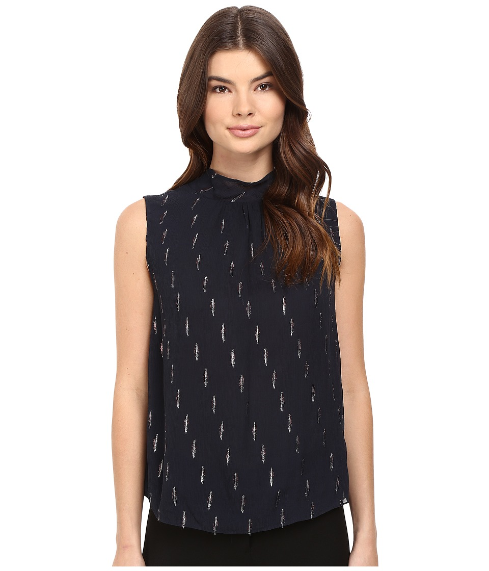 Rebecca Taylor - Metallic Mock Neck Top (Navy) Women's Sleeveless