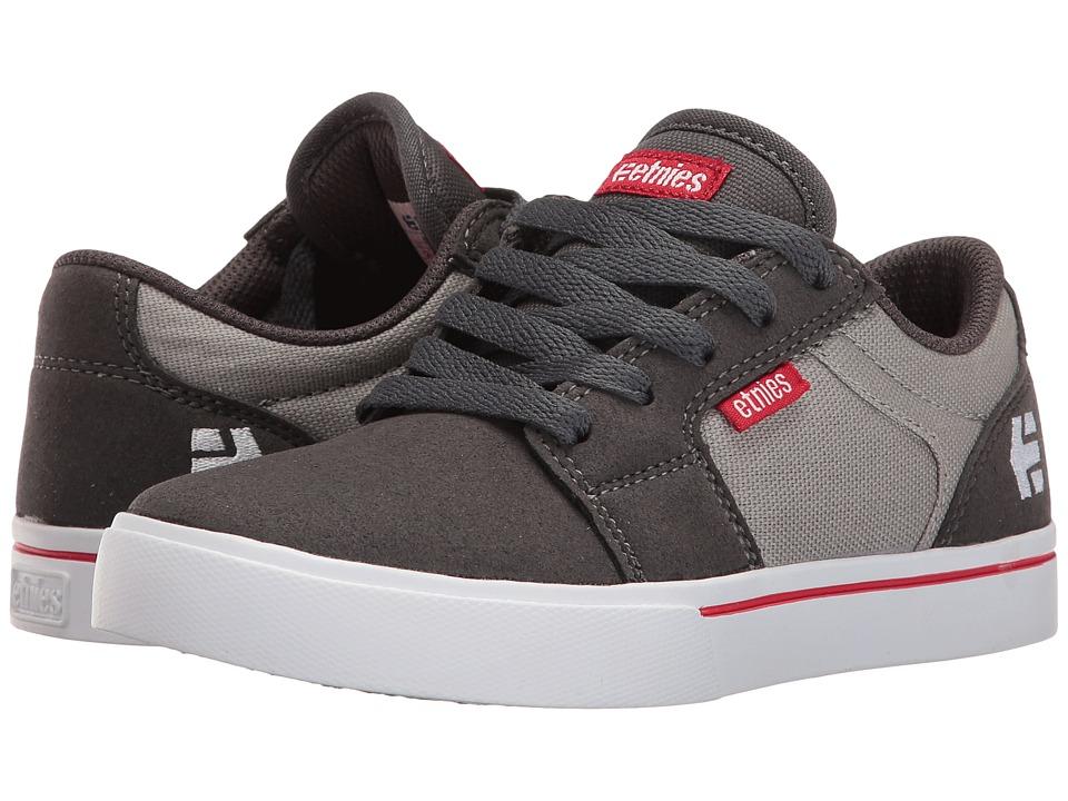 etnies Kids - Barge LS (Toddler/Little Kid/Big Kid) (Dark Grey/Grey/Red) Boys Shoes