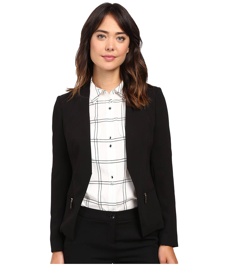 Ivanka Trump - Open Crepe Jacket (Black) Women's Coat