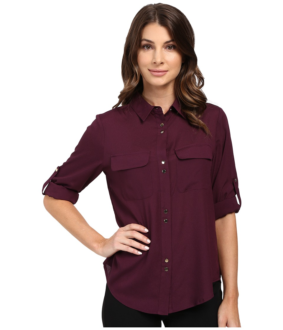 Ivanka Trump - Double Button Blouse (Malbec) Women's Blouse
