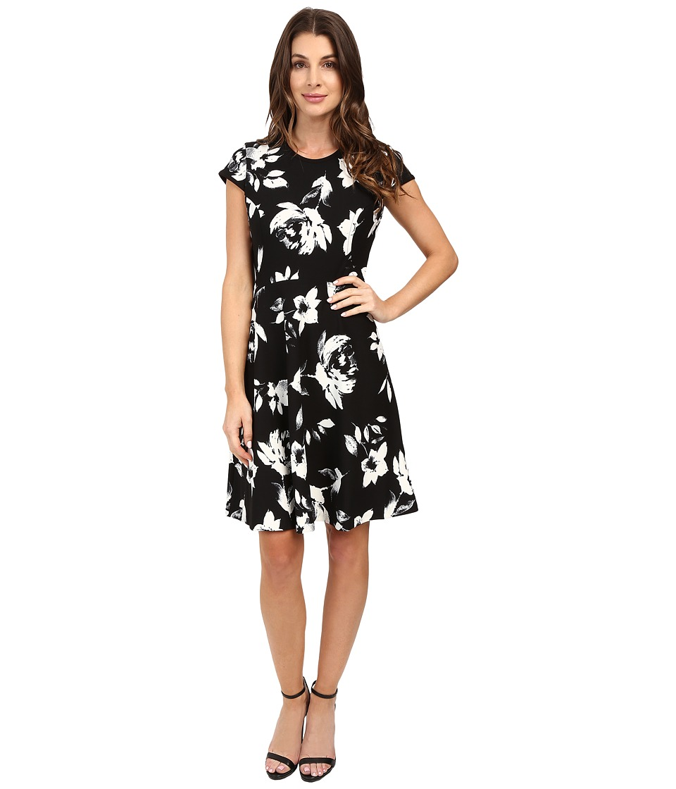 Ivanka Trump - Printed Cap Sleeve Scuba Crepe Dress (Black/Ivory) Women's Dress