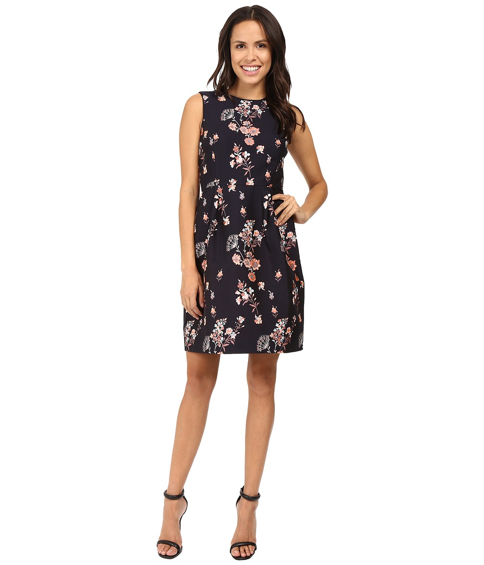 Ivanka Trump - Printed Floral Dress (Navy/Coral) Women's Dress