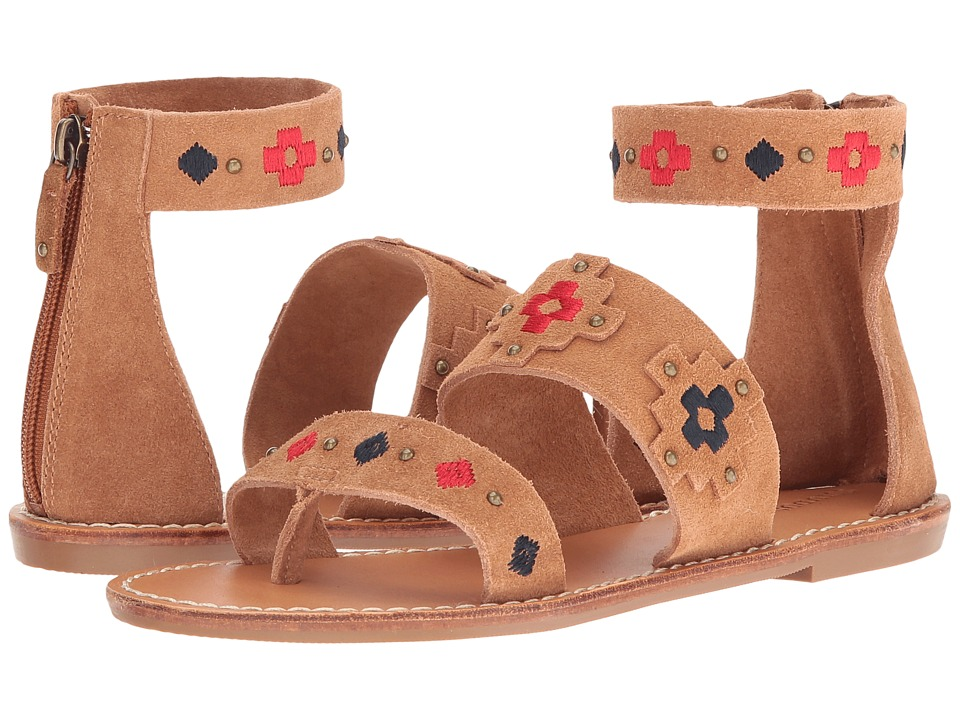 Soludos Embroidered Three Banded Sandal (Camel Suede) Women