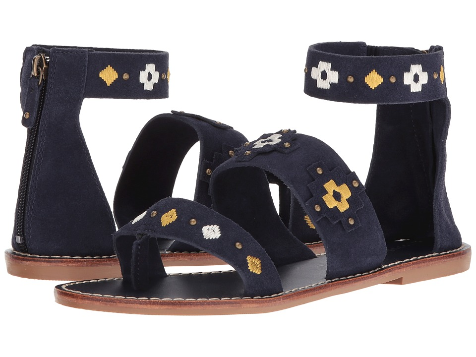 Soludos - Embroidered Three Banded Sandal (Midnight Blue Suede) Women's Sandals