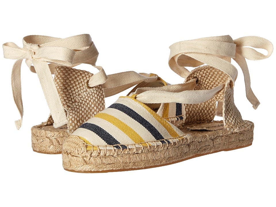 Soludos Striped Platform Gladiator Sandal (Mustard/Navy/Natural Heavy Woven Canvas) Women