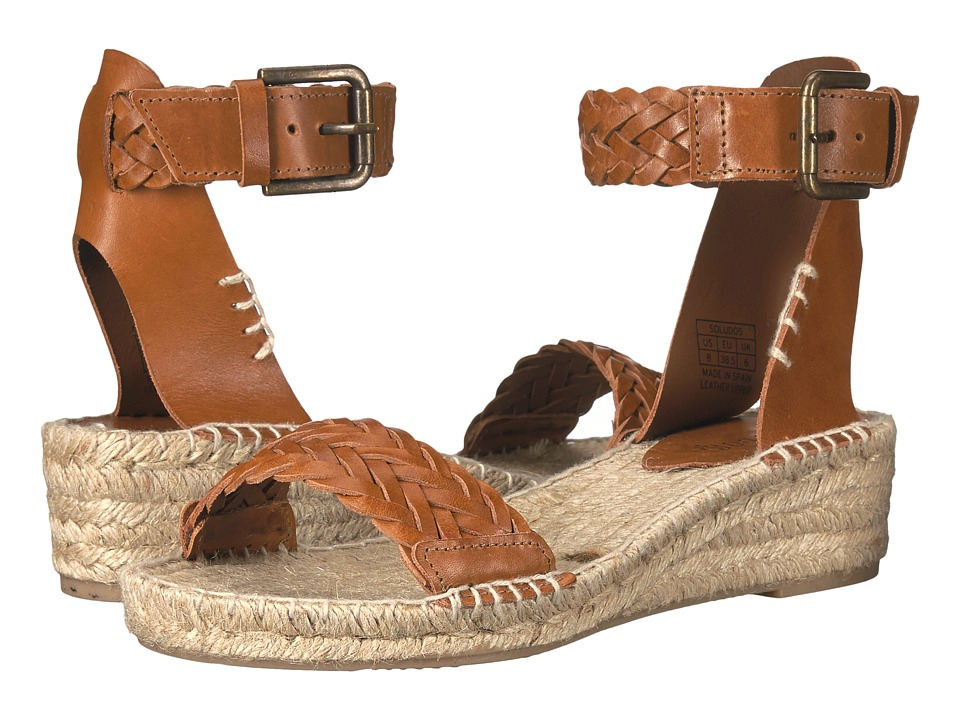 Soludos - Woven Demi Wedge Open Toe Sandal (Camel Leather) Women's Wedge Shoes