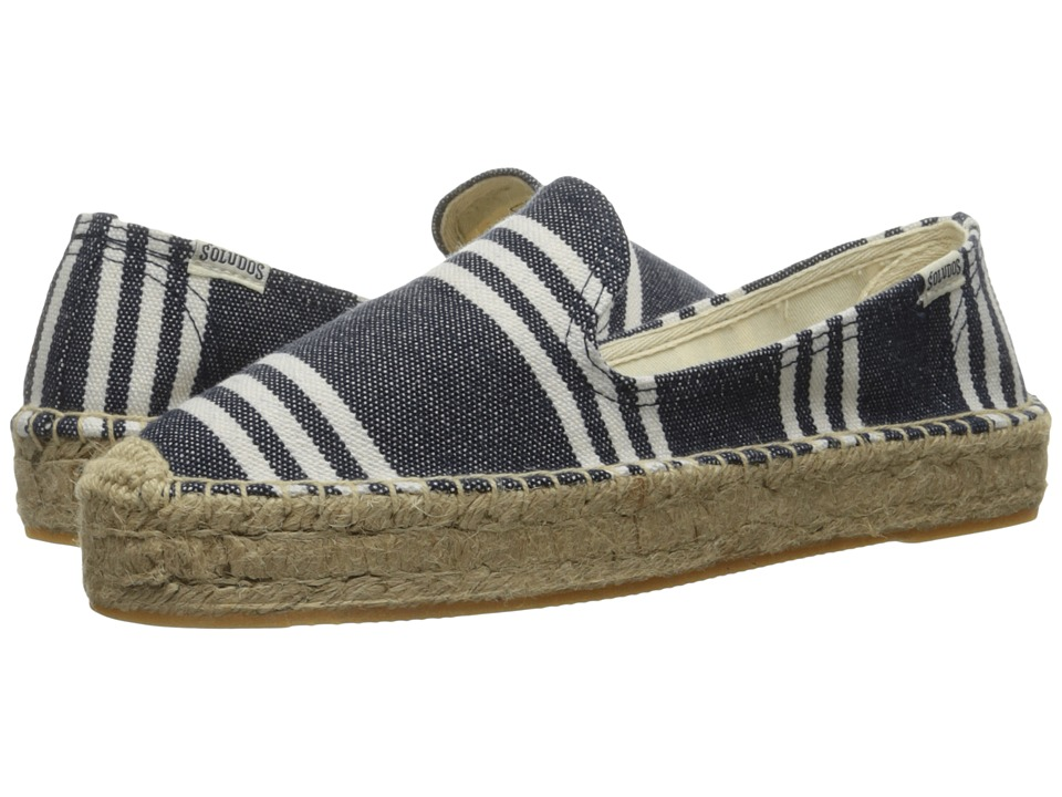 Soludos - Striped Platform Smoking Slipper (Navy/White Heavy Woven Canvas) Women's Slip on Shoes