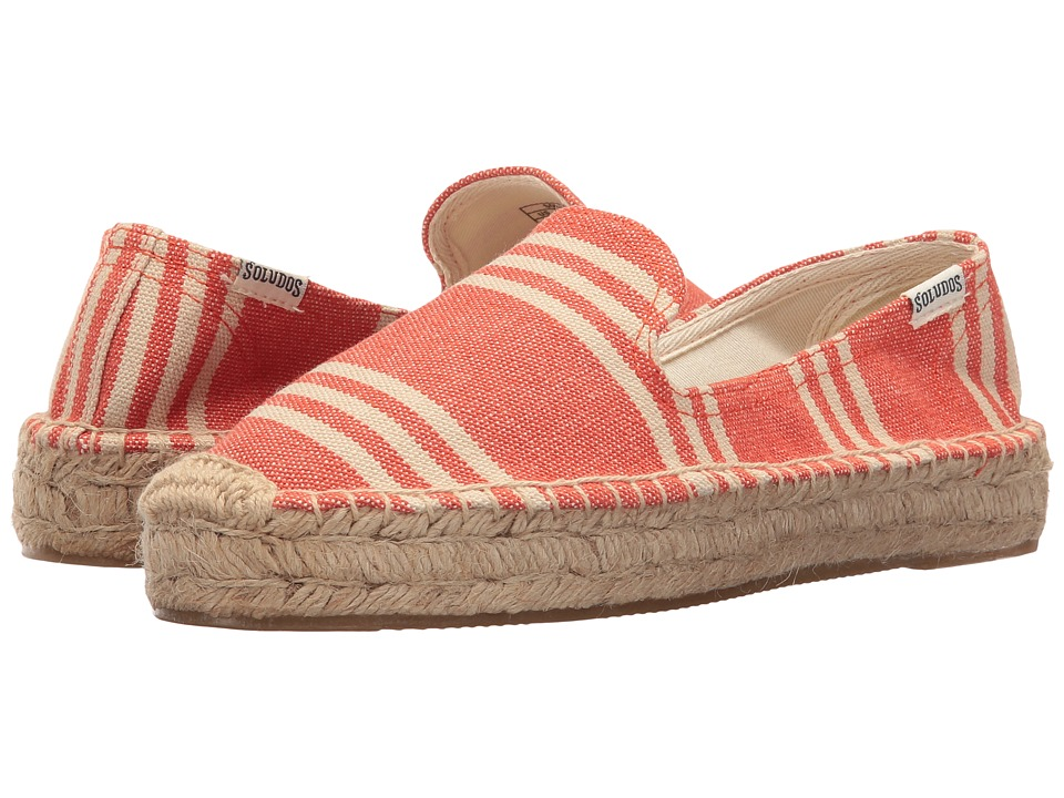 Soludos - Striped Platform Smoking Slipper (Tangerine Multi Heavy Woven Canvas) Women's Slip on Shoes
