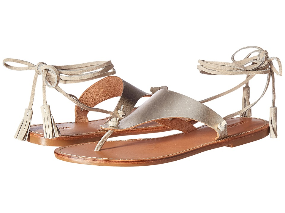 Soludos Thong Gladiator Flat Sandal (Platinum Leather) Women