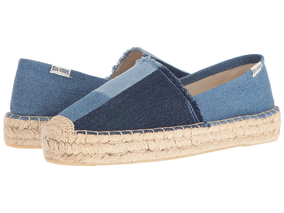 Soludos - Patchwork Original Platform (Denim) Women's Slip on Shoes