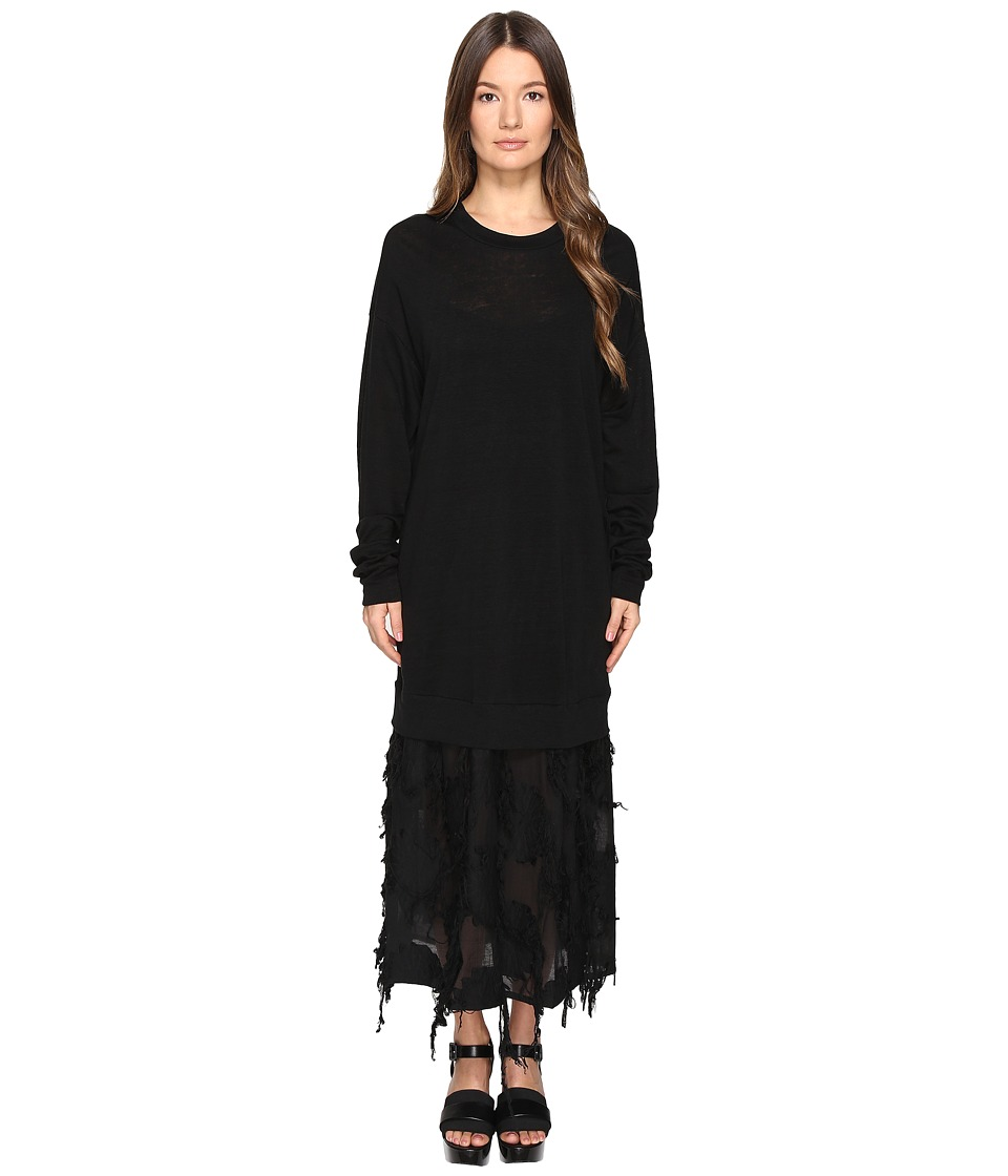 Y's by Yohji Yamamoto - O-Sweat One-Piece with Textured Under Skirt (Black) Women's Jumpsuit & Rompers One Piece
