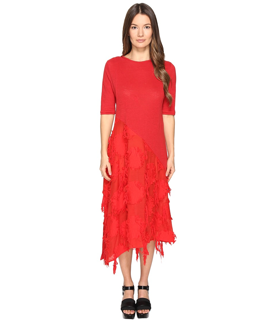 Y's by Yohji Yamamoto - U-Patched Half SD Textured Short Sleeve Dress (Red) Women's Dress