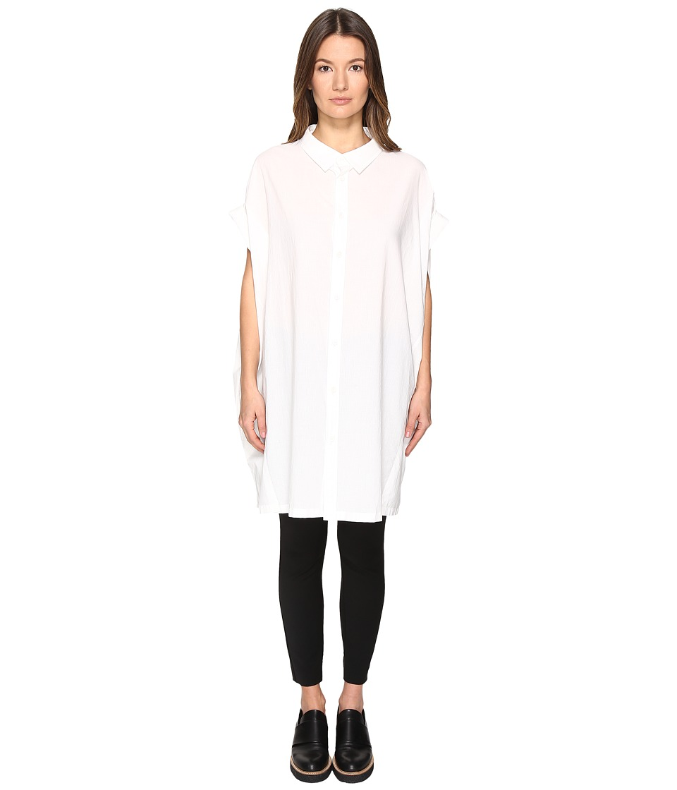 Y's by Yohji Yamamoto - A-Mini Long Sleeve Button Up Collared Shirt (White) Women's Long Sleeve Button Up