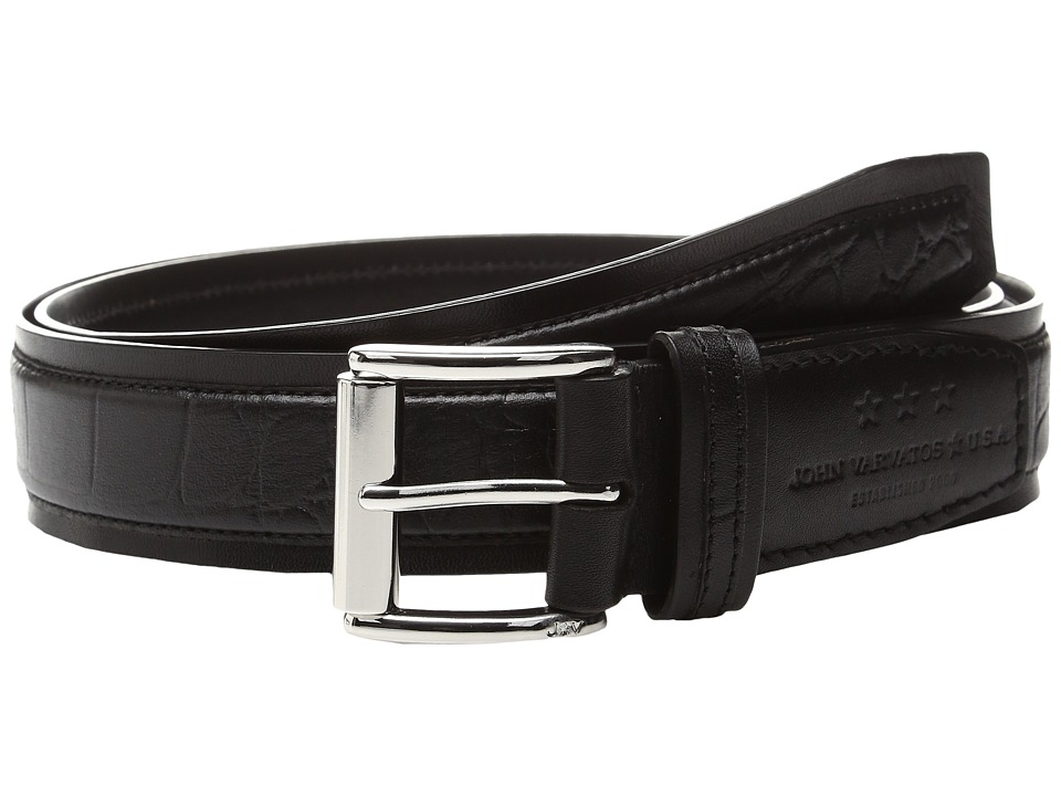 John Varvatos Genuine Leather Croco Belt (Black) Men