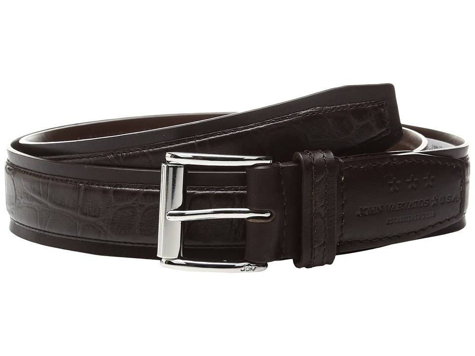 John Varvatos Star U.S.A. - Genuine Leather Croco Belt (Chocolate) Men's Belts