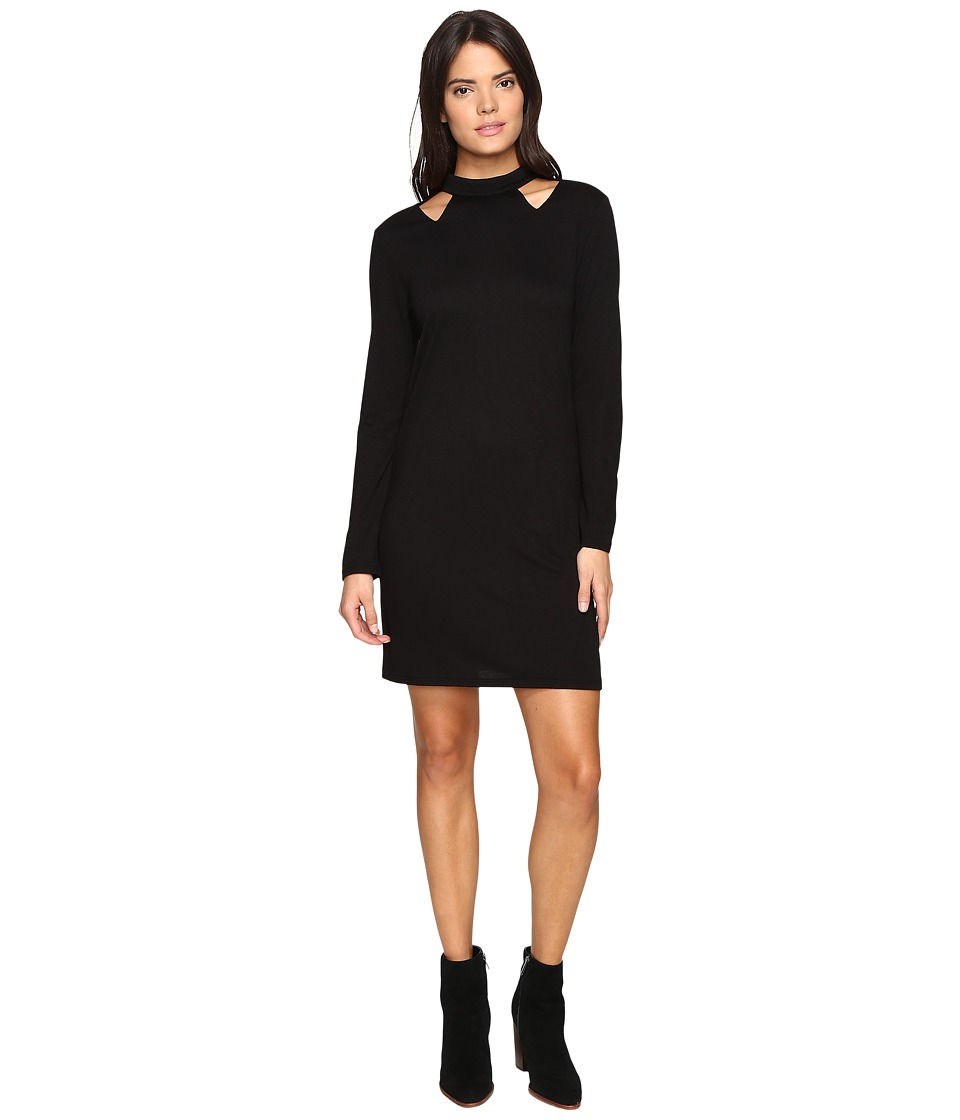 Lanston - Cut Out Turtleneck Mini Dress (Black) Women's Dress