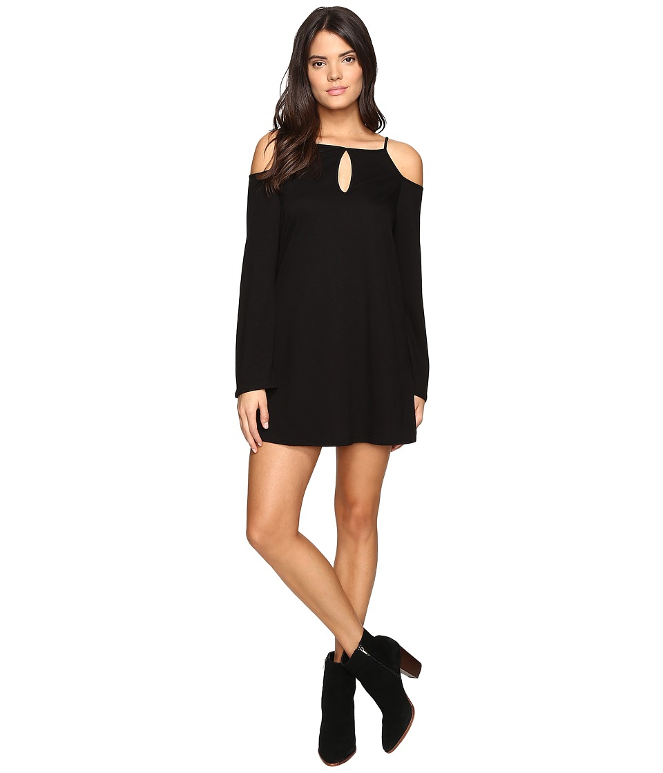 Lanston - Cold Shoulder Mini Dress (Black) Women's Dress