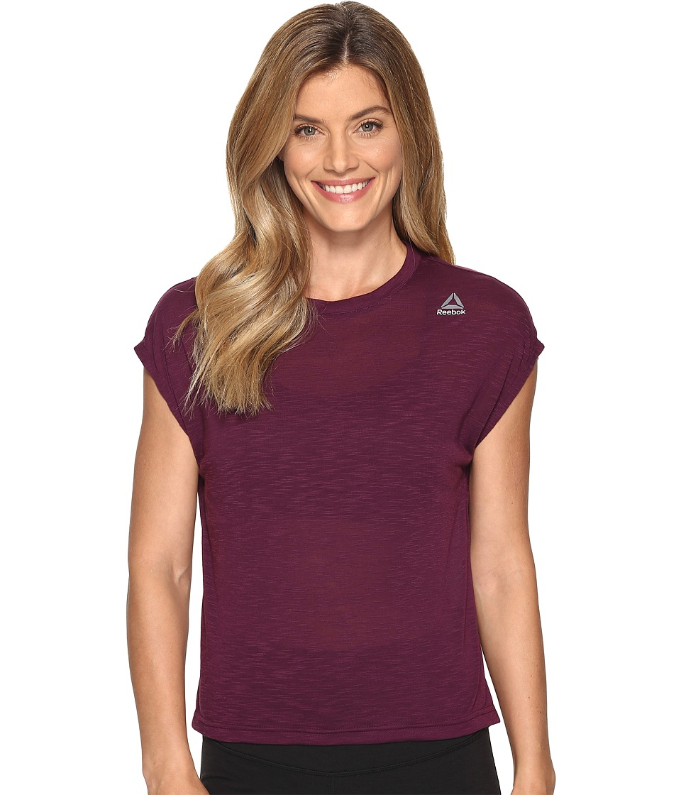 Reebok - Workout Ready Marble Melange No Waste Tee (Pacific Purple) Women's T Shirt