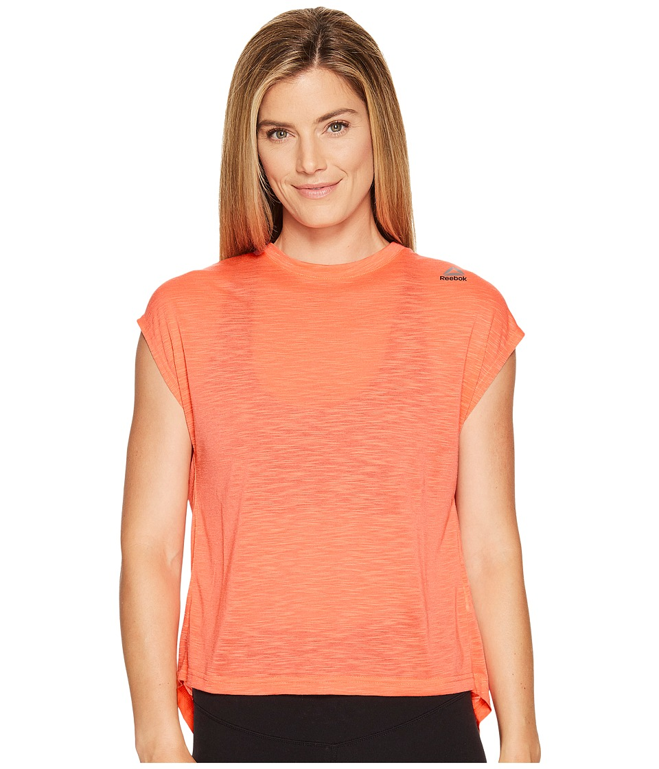 Reebok - Workout Ready Marble Melange No Waste Tee (Fire Coral) Women's T Shirt
