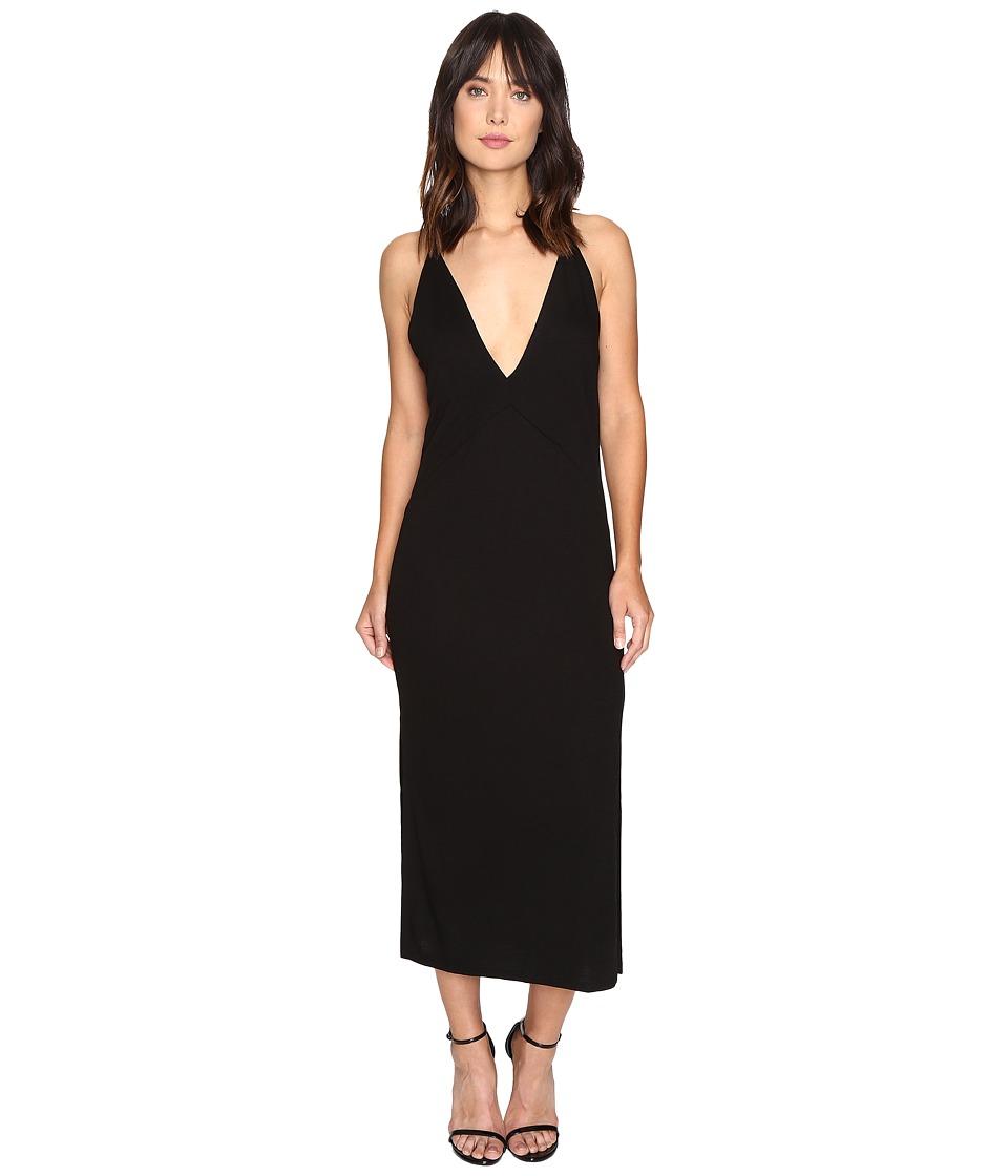 Lanston - Slit Cami Midi Dress (Black) Women's Dress