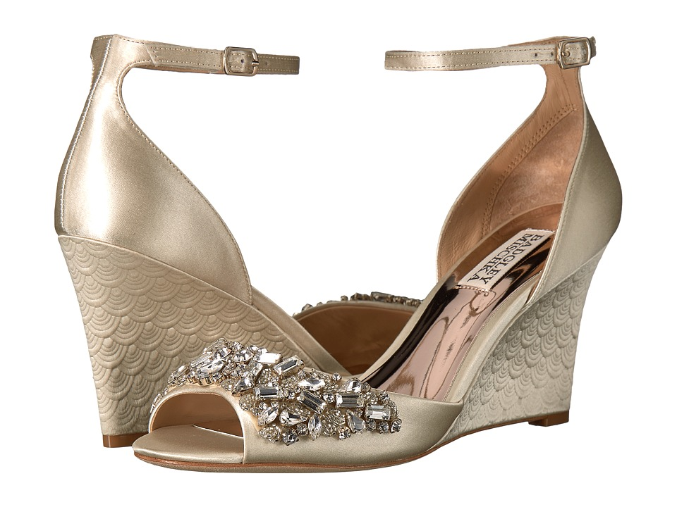 Badgley Mischka - Barbara (Ivory Satin) Women's Wedge Shoes