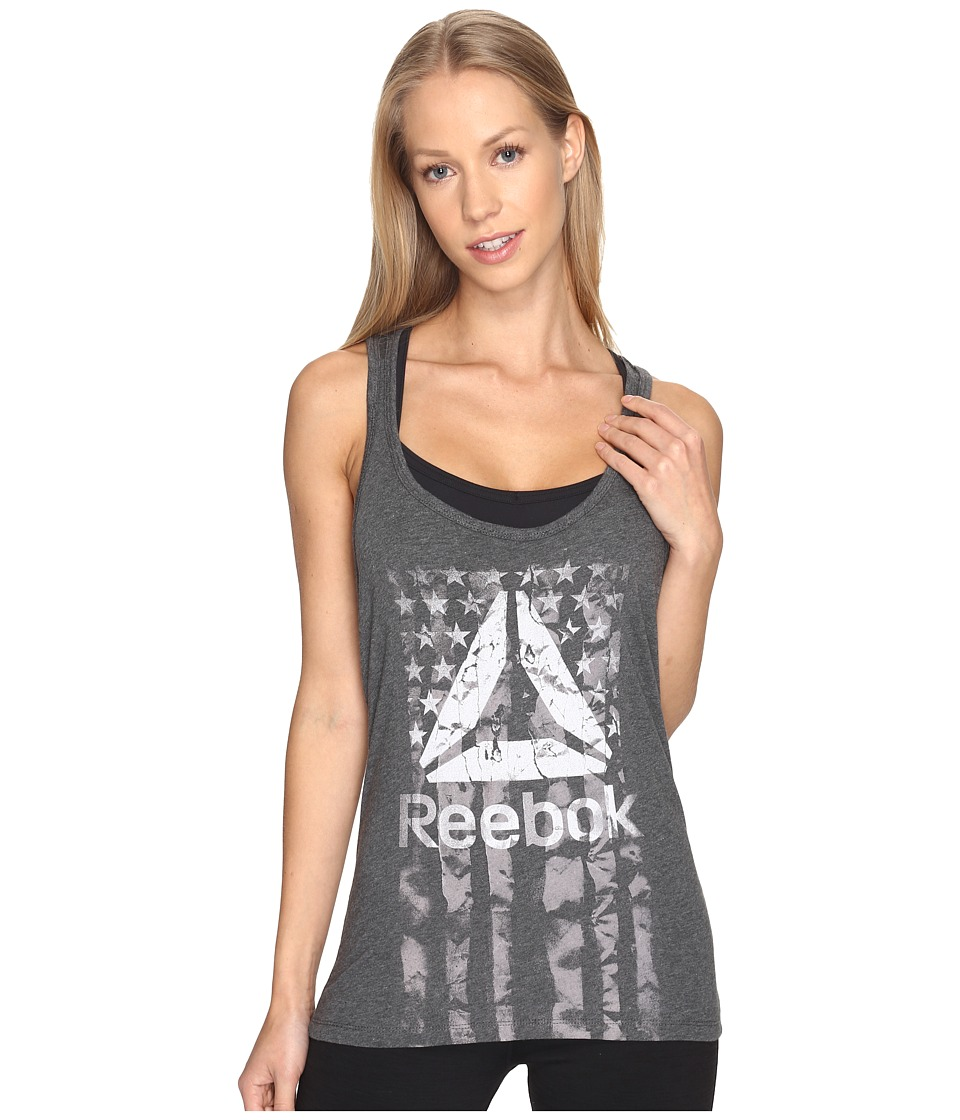 Reebok - Americana Flag Tank Top (Dark Grey Heather) Women's Sleeveless