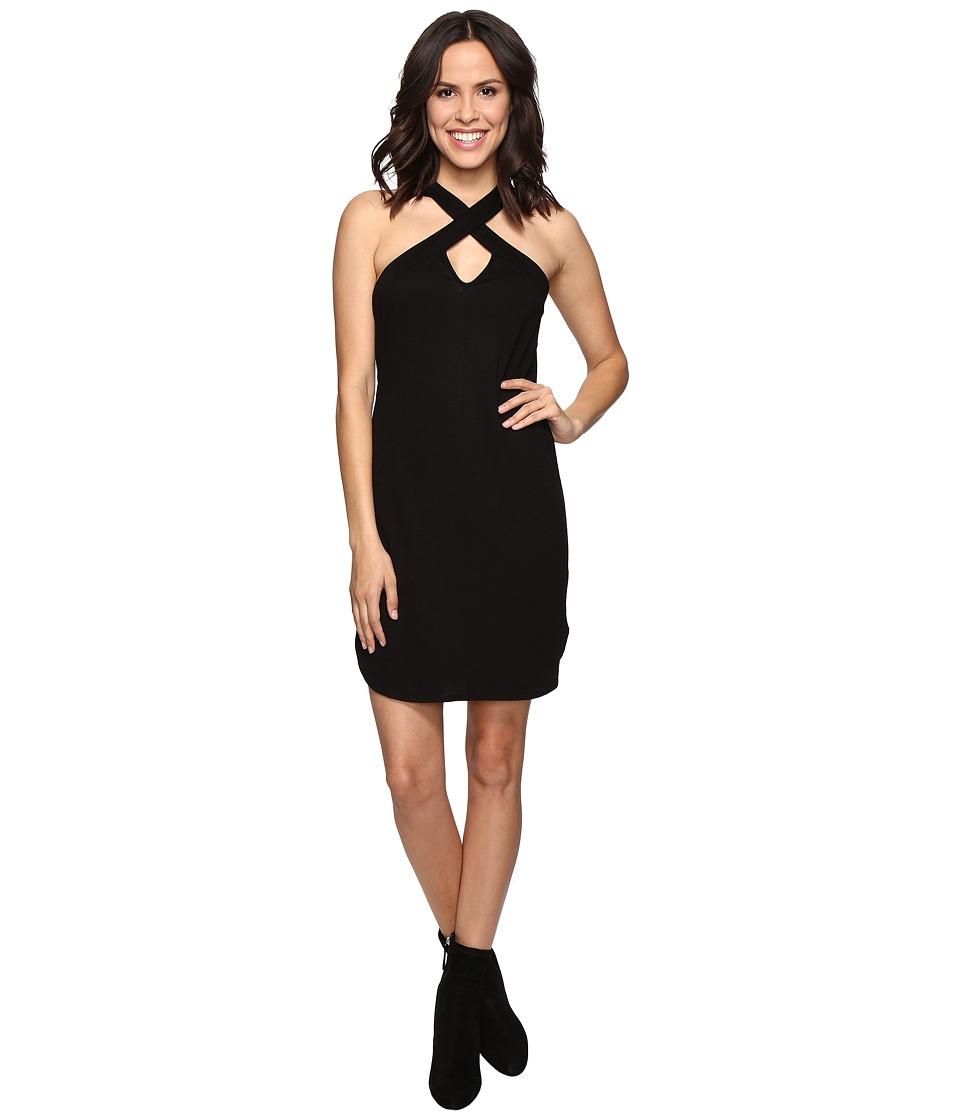Lanston - Cross Front Mini Dress (Black) Women's Dress