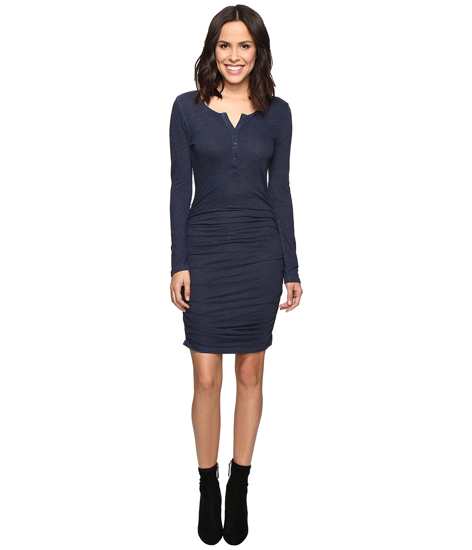 Lanston - Ruched Henley Dress (Navy) Women's Dress