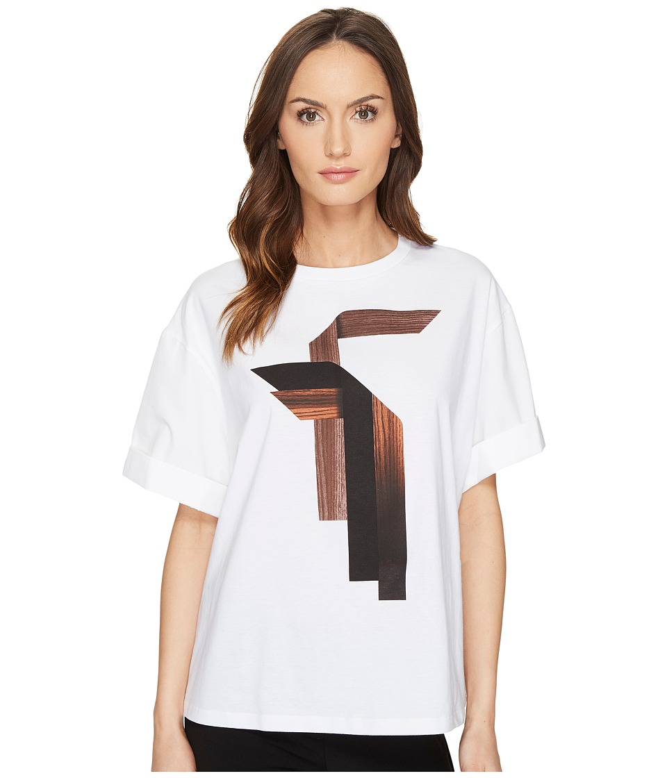 Neil Barrett - Sanfor Stripes T-Shirt Jersey + Fine Pop. Stripes T-Shirt (White) Women's T Shirt