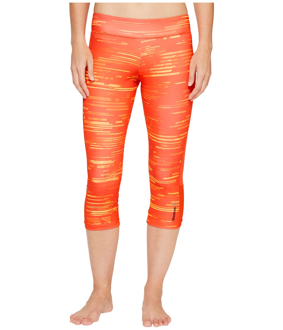 Reebok Workout Ready Capri Aop Capris (Fire Spark) Women