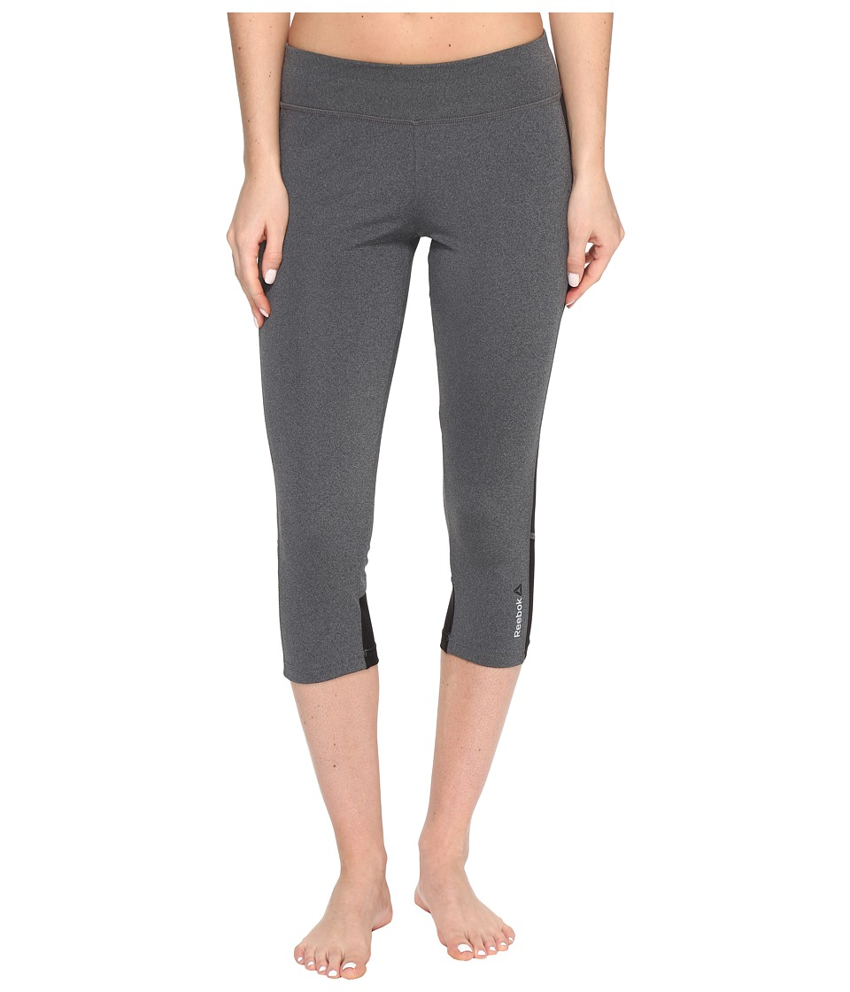 Reebok Workout Ready Capris Colored Block (Dark Grey Heather) Women