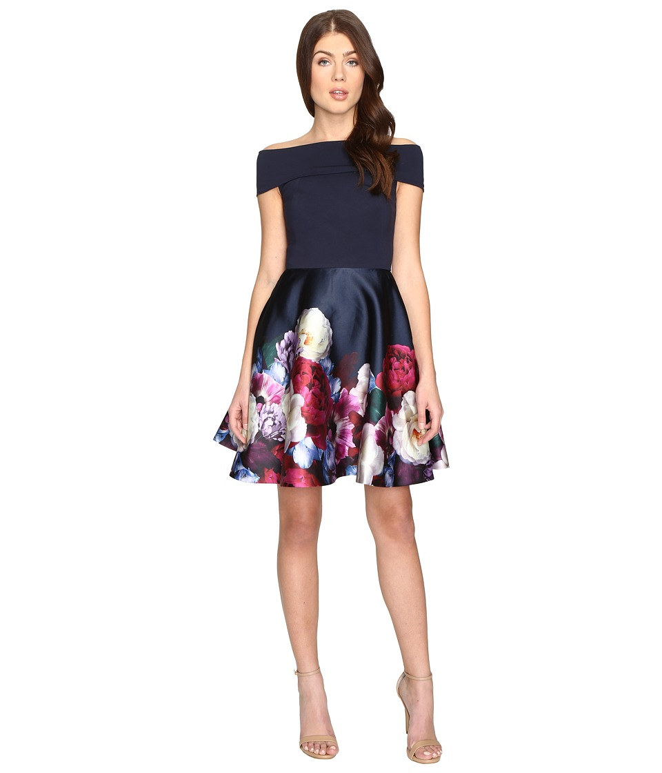 Ted Baker - Nersi Blushing Bouquet Bardot Dress (Navy) Women's Dress