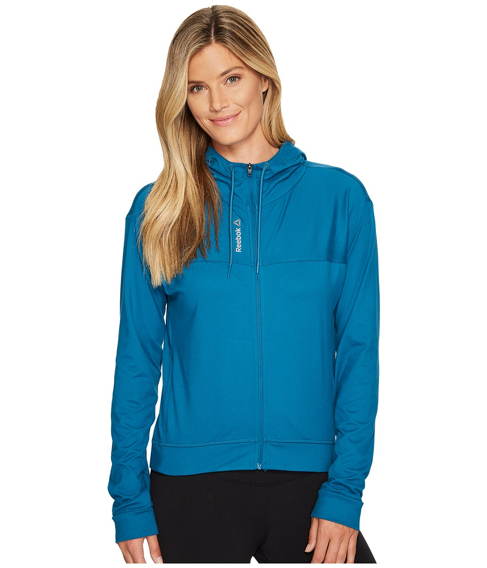 Reebok - Workout Ready Full Zip Hoodie (Emerald Tide) Women's Sweatshirt