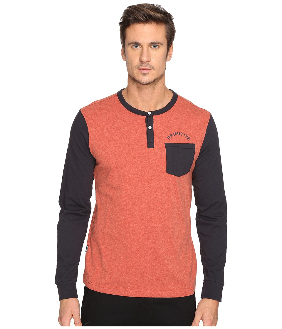 Primitive - Pocket Arch Long Sleeve Henley (Cardinal Heather) Men's Clothing