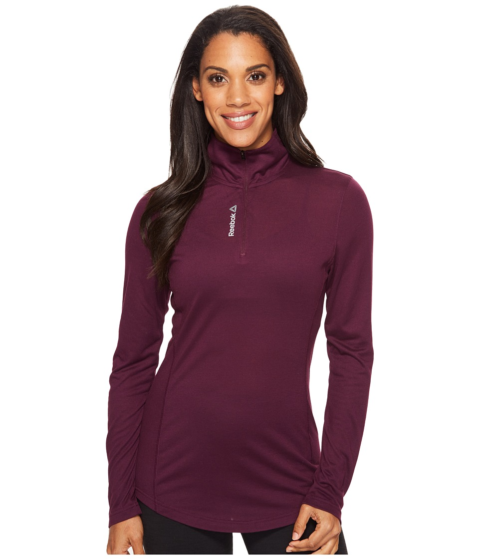 Reebok - Workout Ready Long Sleeve 1/4 Zip (Pacific Purple) Women's Clothing