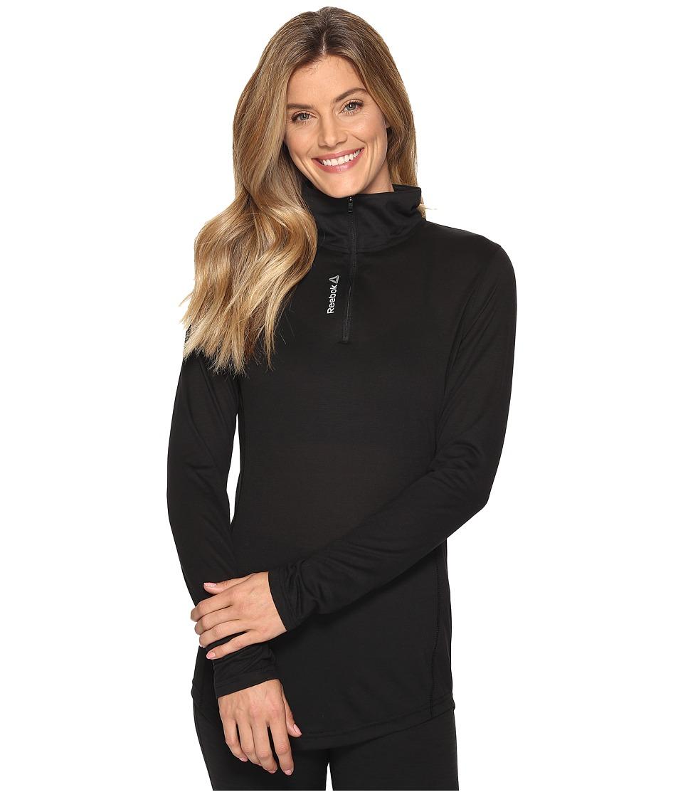Reebok - Workout Ready Long Sleeve 1/4 Zip (Black) Women's Clothing