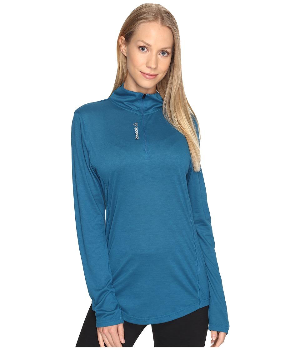 Reebok - Workout Ready Long Sleeve 1/4 Zip (Emerald Tide) Women's Clothing