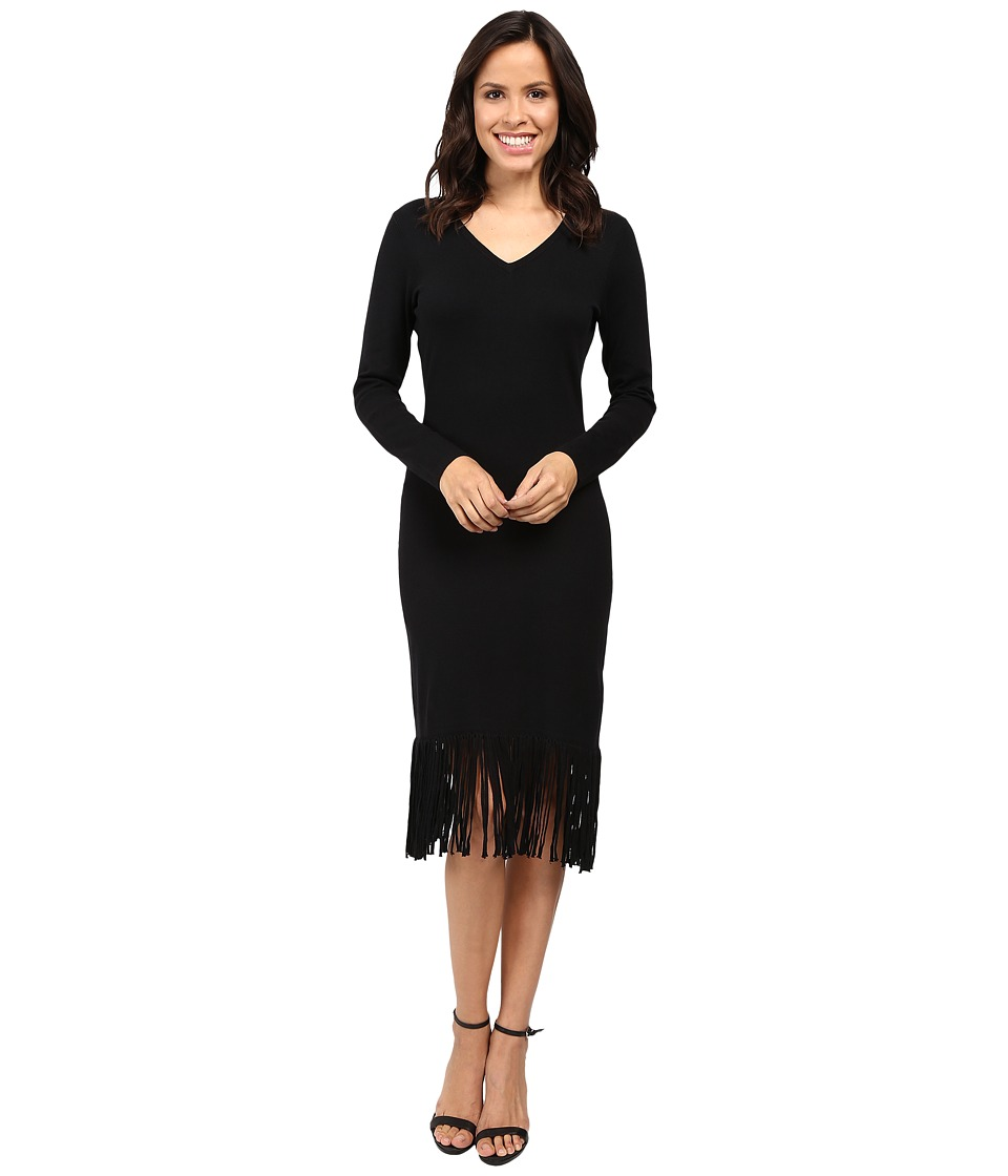 Laundry by Shelli Segal Fringe Sweater Dress (Black) Women